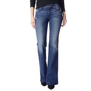 7 for all mankind dojo blue wide leg jeans